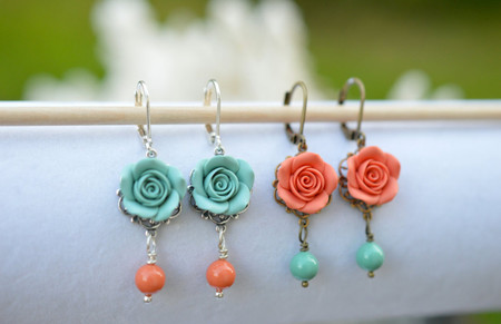 Tamara Statement Earrings in Dusty Mint and Coral Pearls.