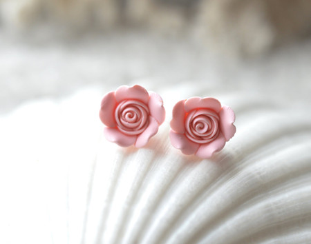 Pastel Blush Pink Rose Stud Earrings