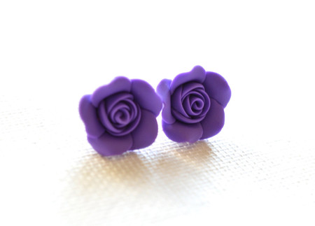 Amethyst Rose Stud Earrings