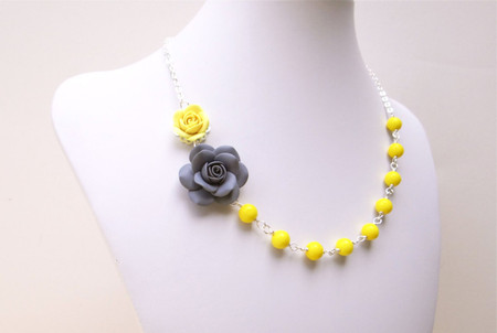 Jayden Double Flowers Asymmetrical Necklace in Yellow and Grey Rose with Yellow Beads. FREE EARRINGS