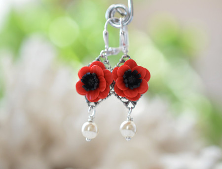 Richelle Red Anemone/Red Poppy Flower Earrings
