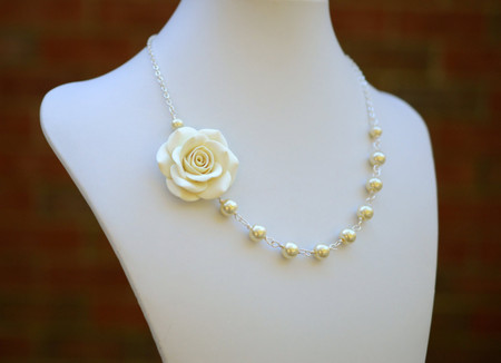 Alysson Asymmetrical Necklace in Ivory/Cream Rose. FREE EARRINGS