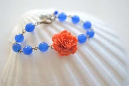 Andrea Link Bracelet in Orange Carnation and Royal Blue Faceted Jade