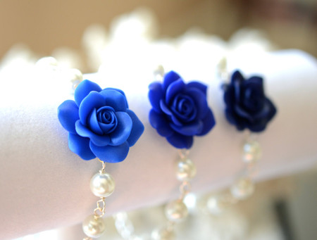 Aaliyah Link Bracelet in Blue Rose with Pearls