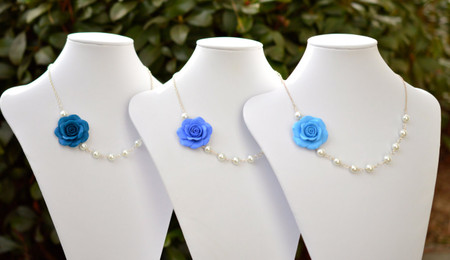 Jessica Asymmetrical Necklace in Blue Rose (Peacock, Iris, Celestial). FREE EARRINGS