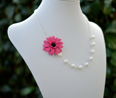 Leah Asymmetrical Necklace in Pink Fruit Puch Gerbera Daisy. FREE EARRINGS