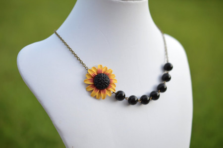 Charlie Asymmetrical Necklace in Red Yellow Sunflower with Black Beads. FREE EARRINGS
