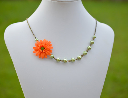 Brenda Asymmetrical Necklace in Orange Gerber with Olive Green Beads. FREE EARRINGS