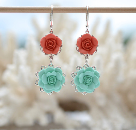 Mardy Double Roses Statement Earrings in Mint and Coral