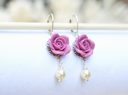 Tamara Statement Earrings in Dusty Plum Rose.