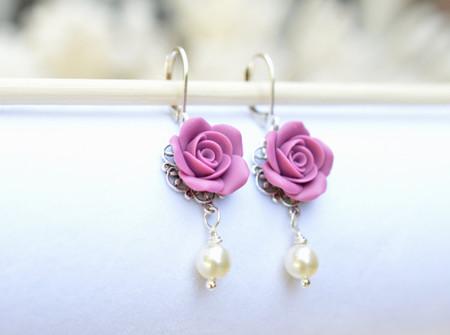 Tamara Statement Earrings in Dusty Plum Rose.
