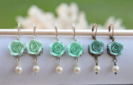 Tamara Statement Earrings in Mint Green