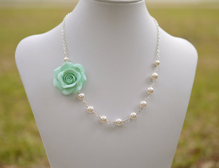 Alysson Asymmetrical Necklace in Light Mint Green Rose. FREE EARRINGS