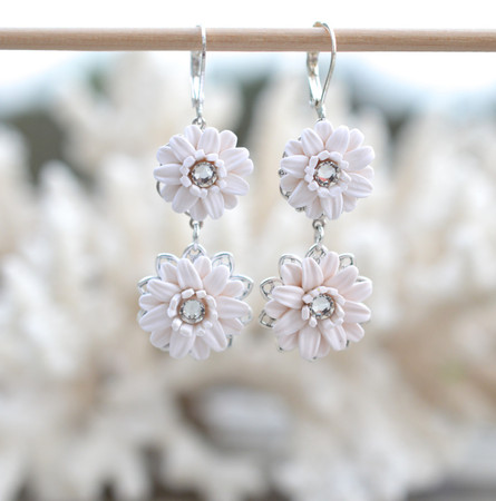 Double White Gerbera Daisy Earrings