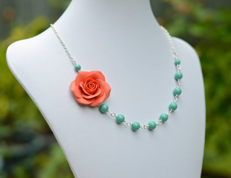 Alysson Asymmetrical Necklace in Coral Rose with Jade Green Pearls. FREE EARRINGS