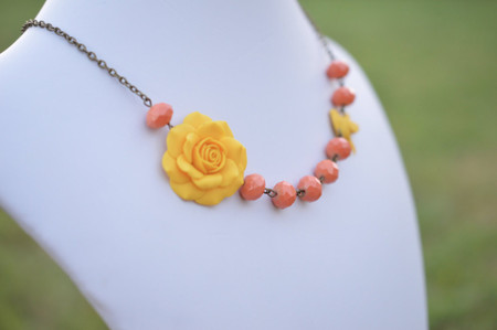 FREE EARRINGS Golden Yellow Rose and Coral  Necklace, Yellow and Coral bridesmaid necklace, Yellow and Coral Flower Necklace