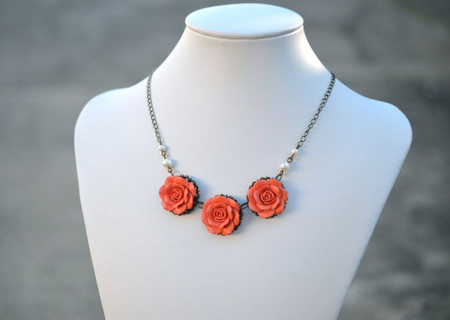 Trio Coral Rose Statement Necklace