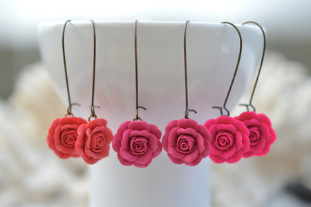 Simple Dangle Rose Earrings in Vibrant Pink