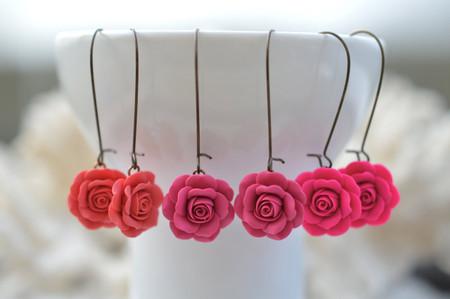 Simple Dangle Rose Earrings in Vibrant Pink