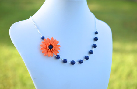 Brenda Asymmetrical Necklace in Orange Gerbera with Dark Blue Swarovski Pearls. FREE EARRINGS