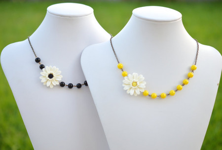 Reyna Asymmetrical Necklace in Gerbera Daisy with Black or Yellow Beads. FREE EARRINGS