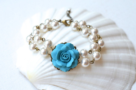 Turquoise Rose Double Strands Pearls Bracelet