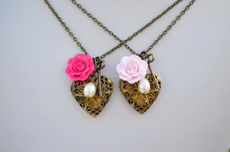 Pink Rose and Heart Locket Charm Necklace
