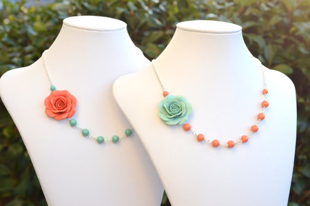 Alysson Asymmetrical Necklace in Coral Or Dusty Mint Rose. FREE EARRINGS