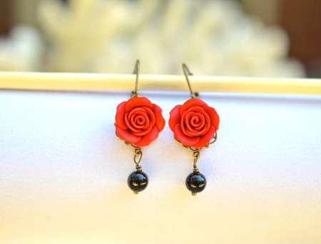 Tamara Statement Earrings in Succulent Red Rose and Black Beads