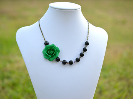 Olivia Asymmetrical Necklace in Emerald Green with Black Beads. FREE EARRINGS
