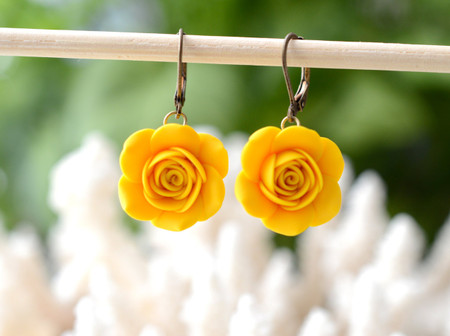 Golden Yellow Rose Simple Dangle Earrings