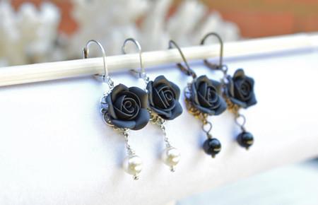 Tamara Statement Earrings in Black Rose
