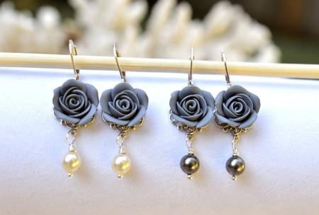 Tamara Statement Earrings in Grey Rose