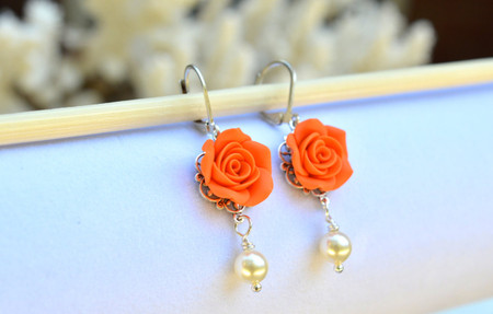 Tamara Statement Earrings in Orange Rose