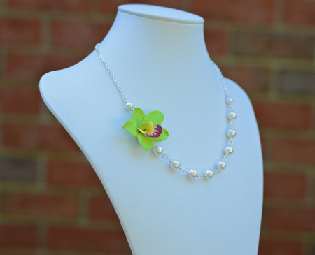 Brenda Asymmetrical Necklace in Green Cymbidium Orchid. FREE EARRINGS