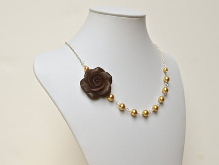 Alysson Asymmetrical Necklace in Dark Brown Rose. FREE EARRINGS