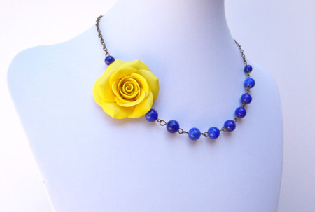 Leah Asymmetrical Necklace in Sunshine Yellow and Royal Blue Stones. FREE EARRINGS