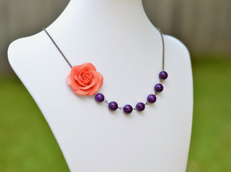 Olivia Asymmetrical necklace in Coral Orange Rose and Deep Purple Stones. Free Earrings.