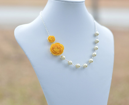 Kendall Double Flowers Asymmetrical Necklace in Golden Yellow Ranunculus. FREE EARRINGS