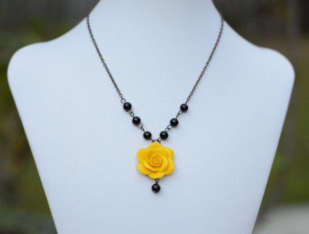 Hannah Centered Necklace in Golden Yellow Rose and Black Beads