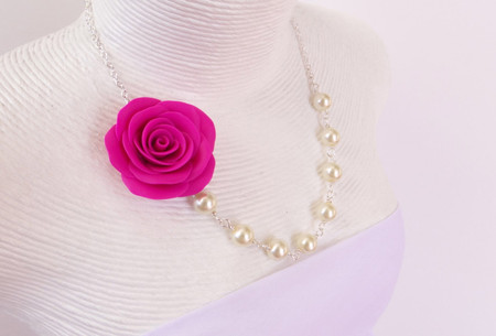 Jessica Asymmetrical Necklace in Hot Pink Rose. FREE EARRINGS
