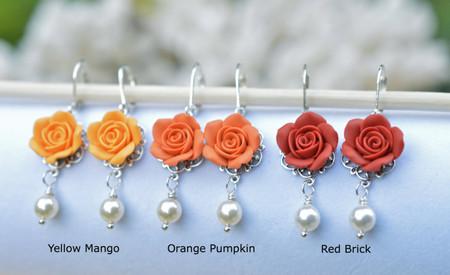 Tamara Statement Earrings in Fall shade Rose.