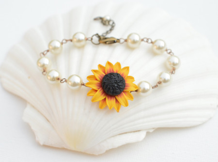 Andrea Link Bracelet in Deep Red and Yellow Sunflower with Pearls