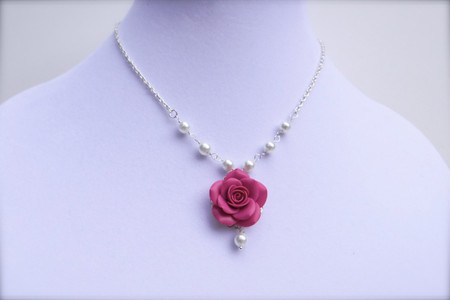 Hannah Centered Necklace in Pink Fruit Punch Rose and Pearls