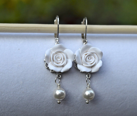 Tamara Statement Earrings in white Rose.