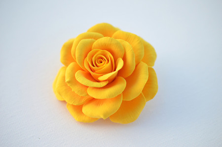 Caroline Hair Clip in Golden or Light Yellow Rose. LARGE