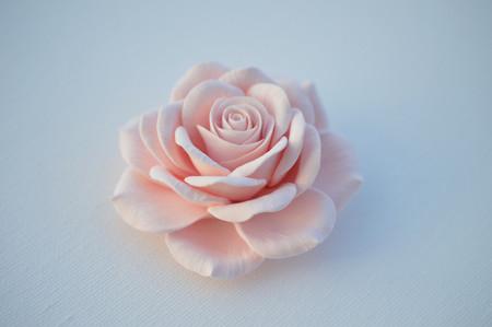 Caroline Hair Clip in Light Pink Rose. LARGE