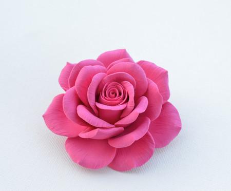 Caroline Hair Clip in Hot Pink Rose. LARGE