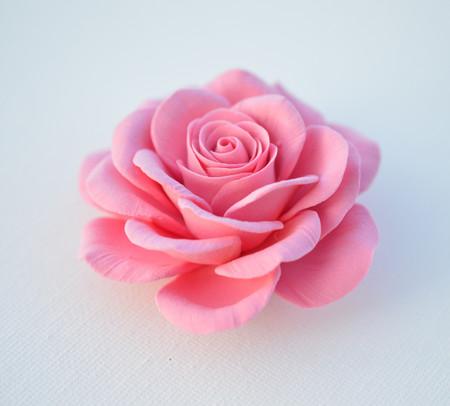 Caroline Hair Clip in Pink Rose. LARGE