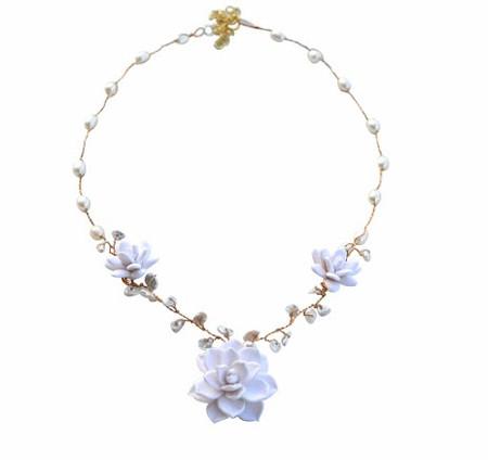 White Succulent Vine Necklace